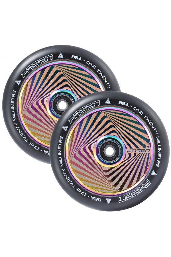 Fasen Scooters Hypno Hollowcore Wheel Pair - 120mm - Square Oil Slick