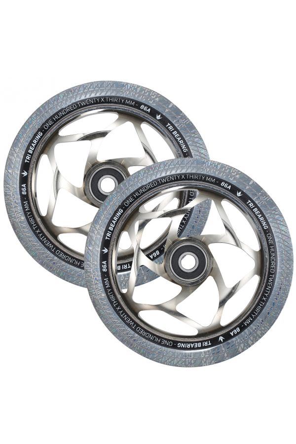 Blunt Envy 120mm/30mm Tri Bearing Wheel Pair - Chrome and Clear