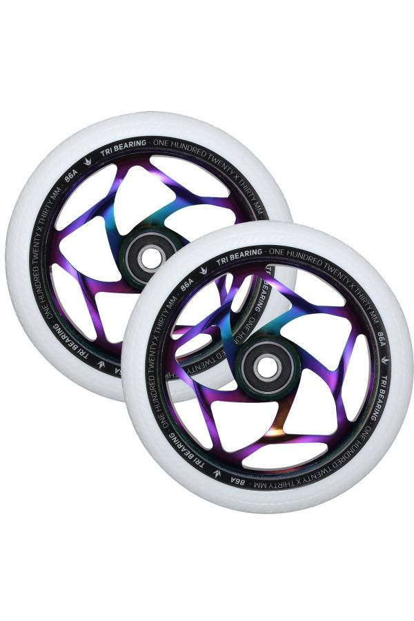 Blunt Envy 120mm/30mm Tri Bearing Wheel Pair - Oil Slick and White